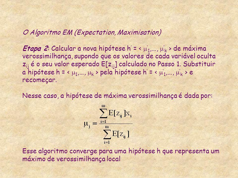 O Algoritmo EM (Expectation, Maximisation) Etapa 2: Calcular a nova hipótese h' = < '1,…, 'k > de máxima verossimilhança, supondo que os valores de cada variável oculta zij é o seu valor esperado E[zij] calculado no Passo 1.
